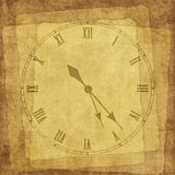 Vintage Card For The Holiday With Clock Royalty Free Stock Photos