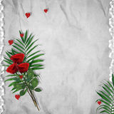 Vintage Card For The Holiday With Red Rose Stock Photo