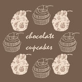 Vintage card with frame of chocolate cupcakes. Illustration Stock Image