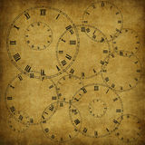 Vintage Card From Old Paper And Clock Royalty Free Stock Photography
