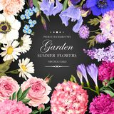 Vintage card with garden flowers Royalty Free Stock Photography