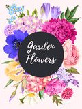 Vintage card with garden flowers Stock Images