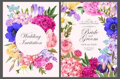 Vintage card with garden flowers Royalty Free Stock Image