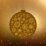 Vintage card with golden Christmas ball. EPS 8 Stock Image
