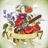 Vintage card with a gun and flowers Stock Images