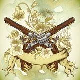 Vintage card with a gun and flowers Stock Photography