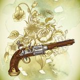Vintage card with a gun and flowers Royalty Free Stock Images