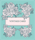 Vintage Card with Hand Drawn Roses. Vector Floral Template for Greeting Card, Invitation,Wedding, Poster. Eps 10 Royalty Free Stock Image
