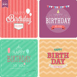 Vintage card - Happy birthday set. Vector illustration Royalty Free Stock Photography