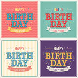 Vintage card - Happy birthday set. Vector illustration Stock Image