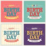 Vintage card - Happy birthday set. Vector illustration royalty free illustration
