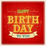 Vintage card - Happy birthday. Vector illustration Stock Photography