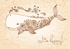 Vintage card with happy whale. Vector illustration Royalty Free Stock Photo