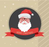 Vintage card of hipster santa claus. happy new year Royalty Free Stock Images