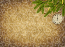 Vintage card for the holiday  with clock. And branches Royalty Free Stock Image