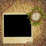 Vintage card for the holiday  with clock. And branches Royalty Free Stock Photography