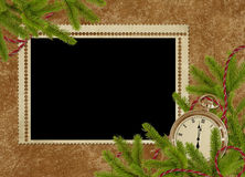 Vintage card for the holiday  with clock. And branches Stock Photos