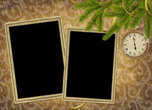 Vintage card for the holiday  with clock. And branches Royalty Free Stock Images