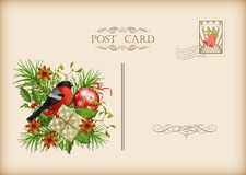 Vintage Christmas Card. Vintage  card with holiday composition of the Christmas decorations Royalty Free Stock Photos