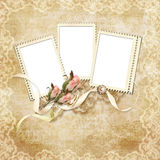Vintage card for the holiday with frame and rose Royalty Free Stock Photos