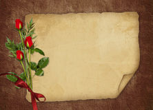 Vintage card for the holiday with red rose. Vintage card for the invitation or congratulation with red rose Stock Photo