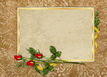 Vintage card for the holiday with red rose Royalty Free Stock Photo