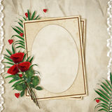 Vintage card for the holiday with red rose Stock Image