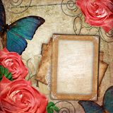 Vintage card for the holiday with roses royalty free stock image