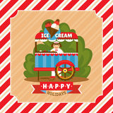 Vintage card with ice cream stand Stock Photo