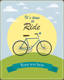 Vintage card illustrated a retro bicycle Royalty Free Stock Photo