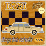 Vintage card with the image of the old taxis. Royalty Free Stock Image