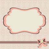Vintage card invitation. Vintage frame. Background with retro style with bow stock illustration