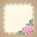 Vintage card with lace doily Stock Photos