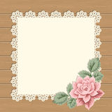 Vintage card with lace doily Royalty Free Stock Photography