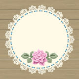Vintage card with lace doily Stock Photo