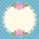 Vintage card with lace doily Royalty Free Stock Images