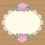 Vintage card with lace doily Stock Photography