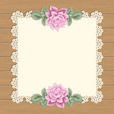 Vintage card with lace doily Royalty Free Stock Photos