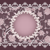 Vintage card with lace and pearl frame Royalty Free Stock Images