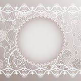 Vintage card with lace and pearls Stock Photos