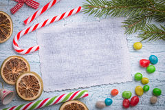 Vintage card on light blue Christmas background Stock Photos