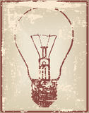 Vintage card with light bulb Royalty Free Stock Photo