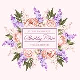 Vintage card with lilac and peony Stock Photos