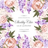 Vintage card with lilac and peony Royalty Free Stock Images