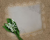 Vintage card with lilies of the valley on a shabby decorative ba Royalty Free Stock Image