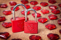 Vintage card with locks and red hearts Royalty Free Stock Photo