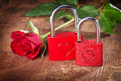 Vintage card with locks and red rose Stock Image