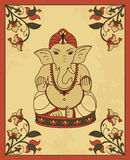 Vintage card with Lord Ganesha. Stock Images