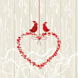 Vintage card, love birds couple Stock Image