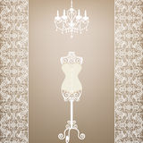 Mannequin and chandelier Royalty Free Stock Images